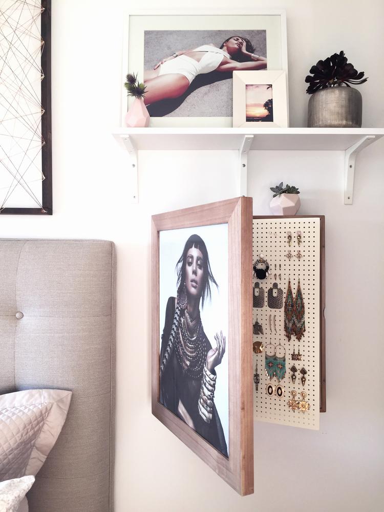 Natural wood) Wall Mounted Jewelry Organizer Photo Frame — Bleach LA ...
