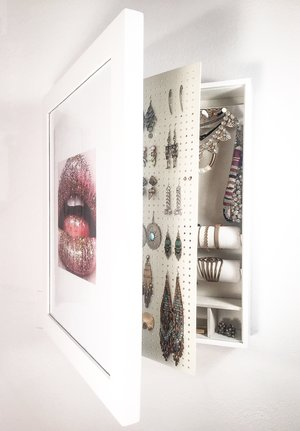 White) Wall Mounted Jewelry Organizer \