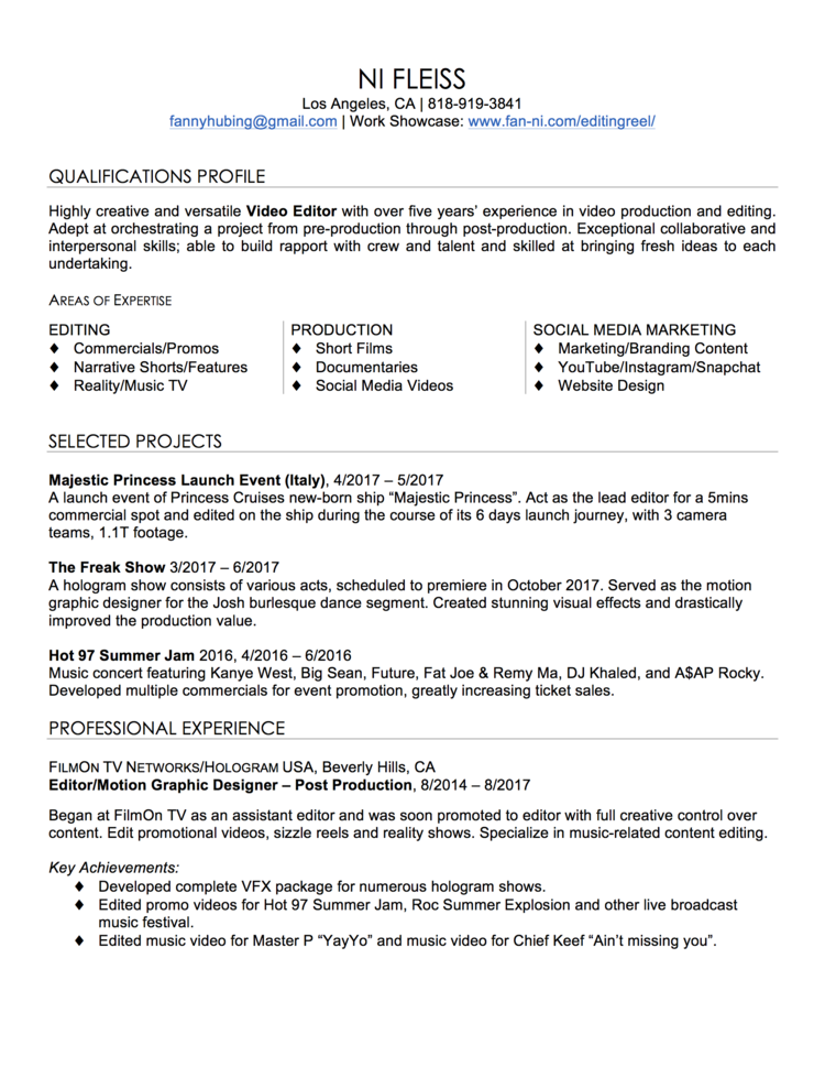 post production resume