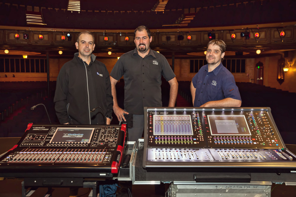 Pictured are: Civic Theatre's Lachlan Thomas & James Beech with Nick Burns of Forefront Productions.