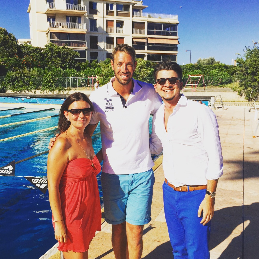 Pictured from Left to Right: Natalia Kucherova (Co-Founder of SportCampTravel), Alain Bernard (Professional Swimmer) Kirill Kucherov (Co-Founder of SportCampTravel)