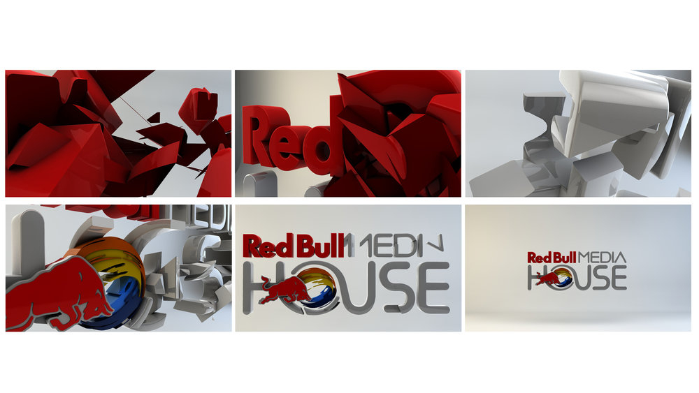 Initial RedBull logo build concept storyboards.