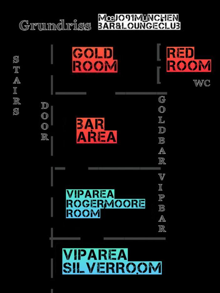 Quick overview - mœjo Bar (public)Bar Area - ca. 20 Personen; spontane BesucherGoldRoom - ca. 30-45 Personen;RedRoom - ca. 20-30 PersonenIn jedem Raum hast du deinen eigenen Bereich für dich & deine Freunde. Manche Areas können miteinander kombiniert werden & somit ihr Fassungsvermögen erhöhen.mœjo VIP Area (Private)RogerMoore & SilverRoom - ab 50-80 Personen; privater separierter Bereich des mœjos mit eigenem Barkeeper & Service & mit Kühlbuffet & LoungeBereich; erweiterbar auf 100 Personen.Zwei abgetrennte Räume - auf Anfrage an manchen Abenden auch einzeln reservierbar.
