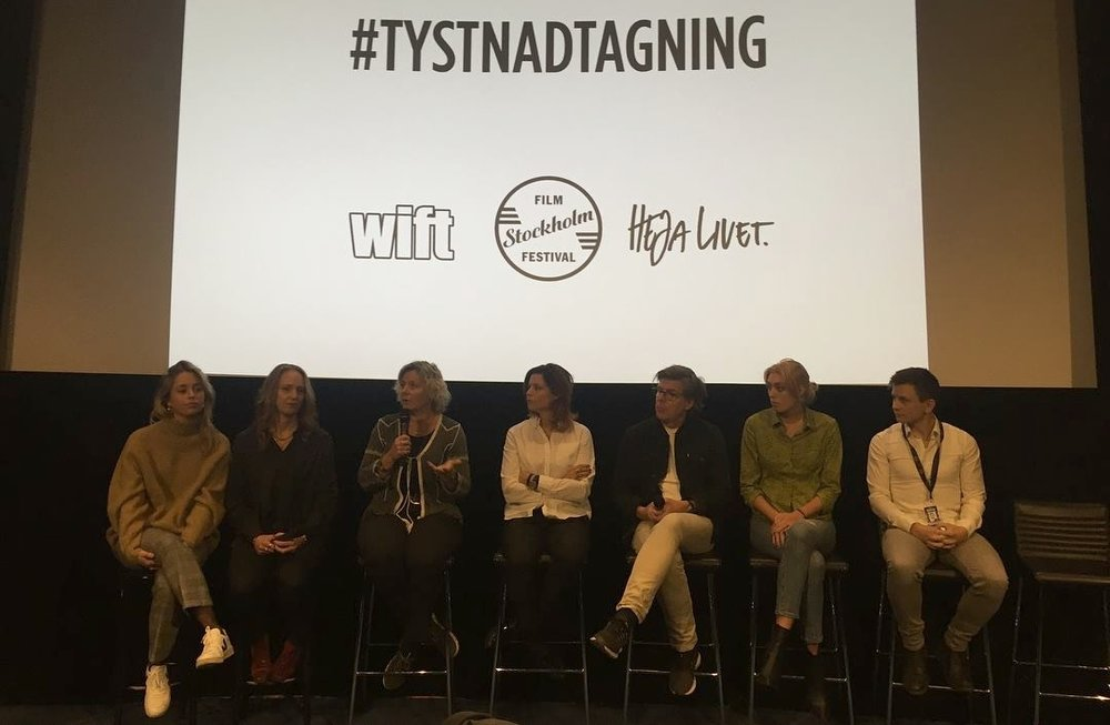 Anna Serner (CEO Swedish Film Institute), Josefine Tengblad (Head of Drama, TV4), Zoë Que (Director of Photography), Anna Velander Gisslén (WIFT), Daniel Bramme (Executive Producer, Investor), Emely Crona Stenberg (Heja Livet) och Jan Blomgren (Bob Film/Art89).