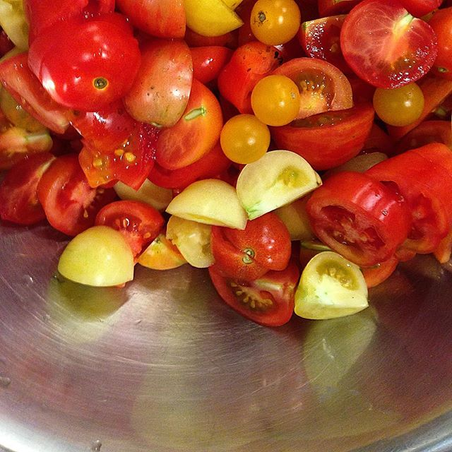 Heirloom tomatoes, fresh out of the garden. Ready to make another batch of Summer Relish.