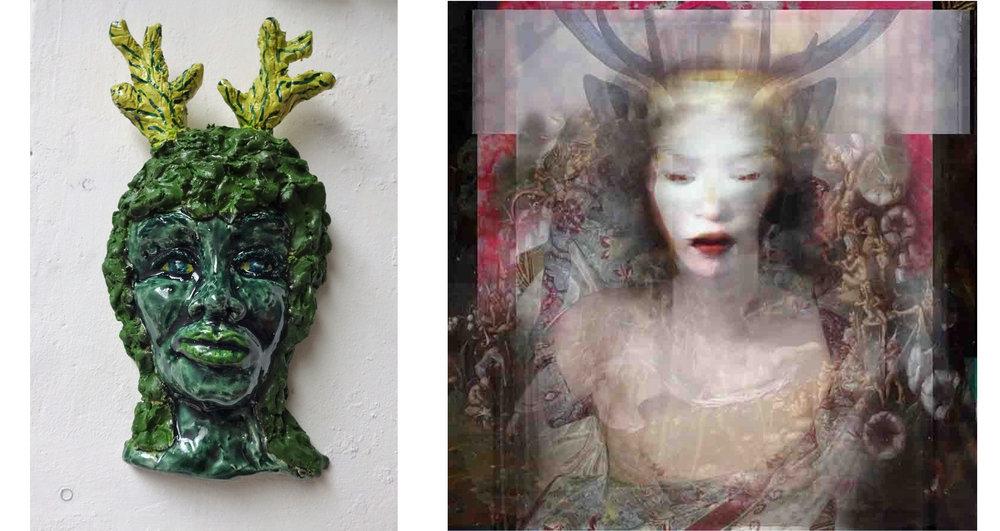 Foto links: Vrouw met gewei -2018 Jeannet Klement Keramiek Foto rechts: Horned Head- 2018 Lisa Holden fotowerk