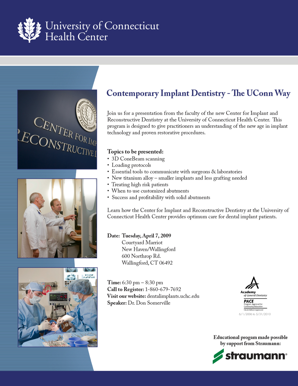 University of Connecticut Health Center Education Flyer