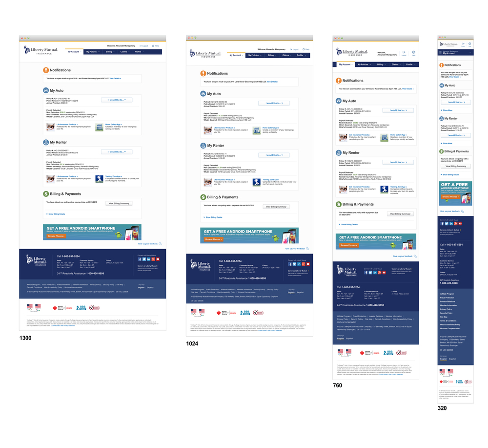 Liberty Mutual eService Responsive Design - Breakpoints