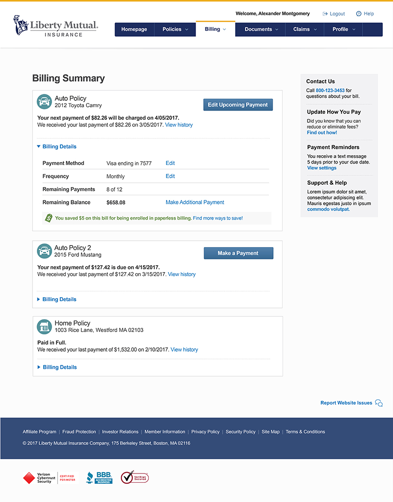 Post Usability - Billing Summary page provides users with detailed billing options for each policy they have.
