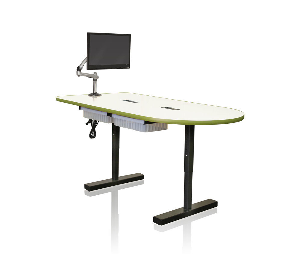 The Collaboration Table - Our Collaborative Team Table instantly sparks creativity and empowers students to work together by offering a dry erase surface, adjustable leg heights for sitting or standing workspace, optional power unit and monitor arm. Foster freedom and see where your students will go!