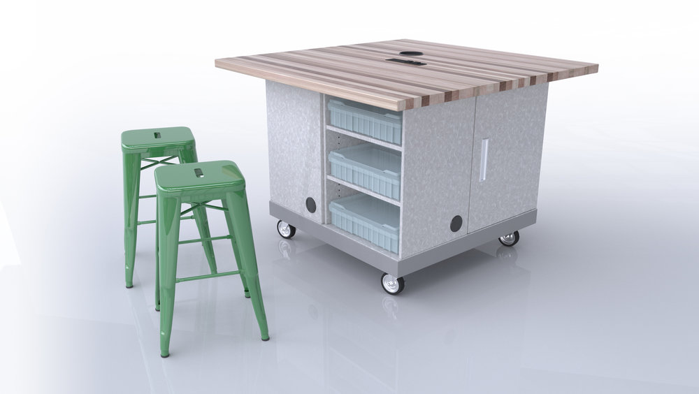 The Quad Pod - The First Truly Customizable Maker Table!The Quad Pod table by CEF is a revolutionary concept in educational furniture design! This design layout allows you to customize your table according to the storage and functionality needs that you may have in a makerspace or classroom. CEF has designed four different square