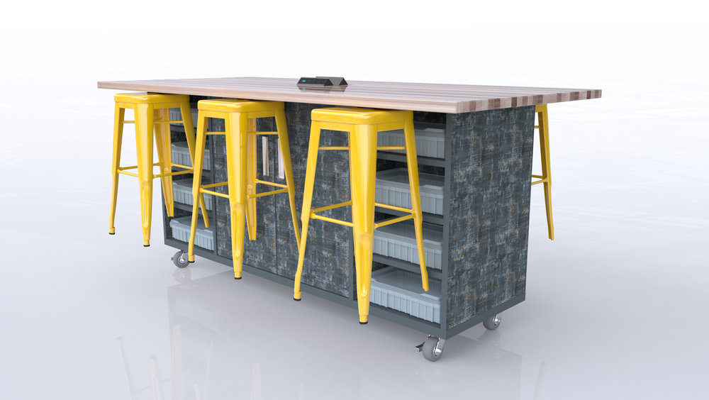 """The Ed Double - The Ed Double captures many of the same features as the Original Ed Table with the exception of the trash component being removed and extra storage being added. Upgraded features include 16 storage bins with lids and integrated electrical now offering a VGA & HDMI connections. As always, The Ed Double is offered as an all-inclusive piece that provides 6 stools, storage bins with lids, power and choice of 36"""" or 42"""" height. The Ed Double is truly the ultimate turn-key maker table!"""