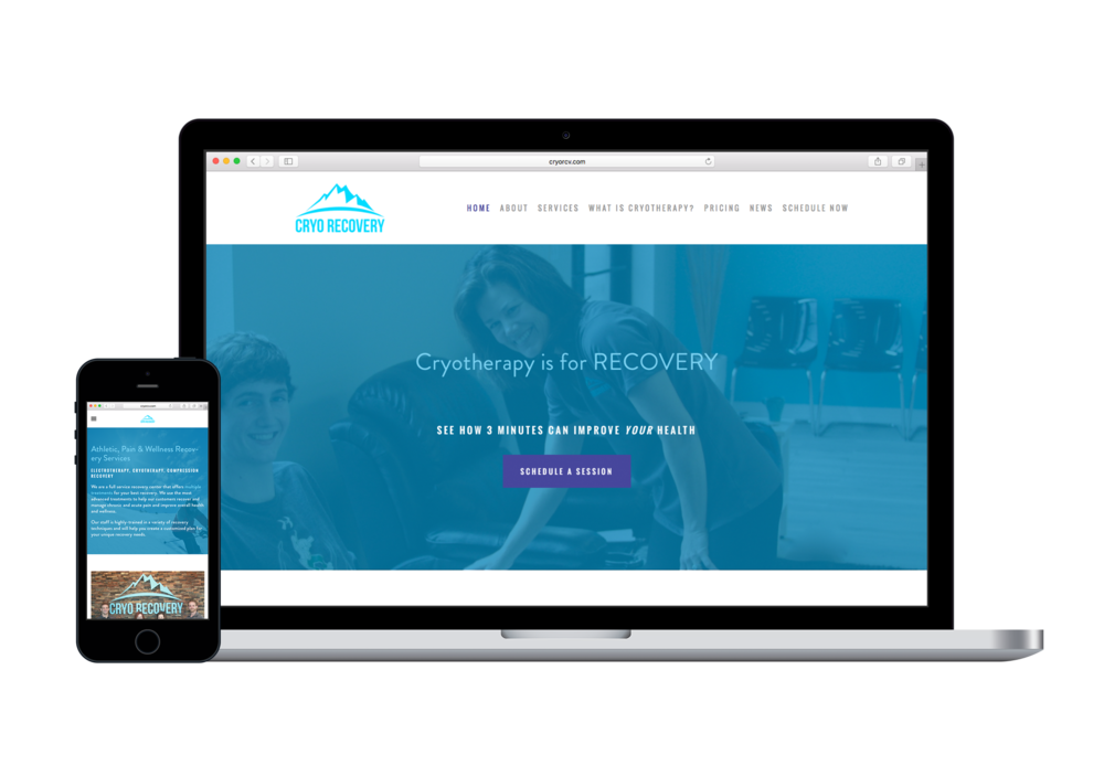 Cryo Recovery website design | cryotherapy business website