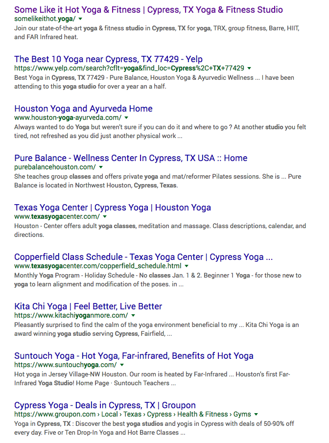 Example of Organic Search Results