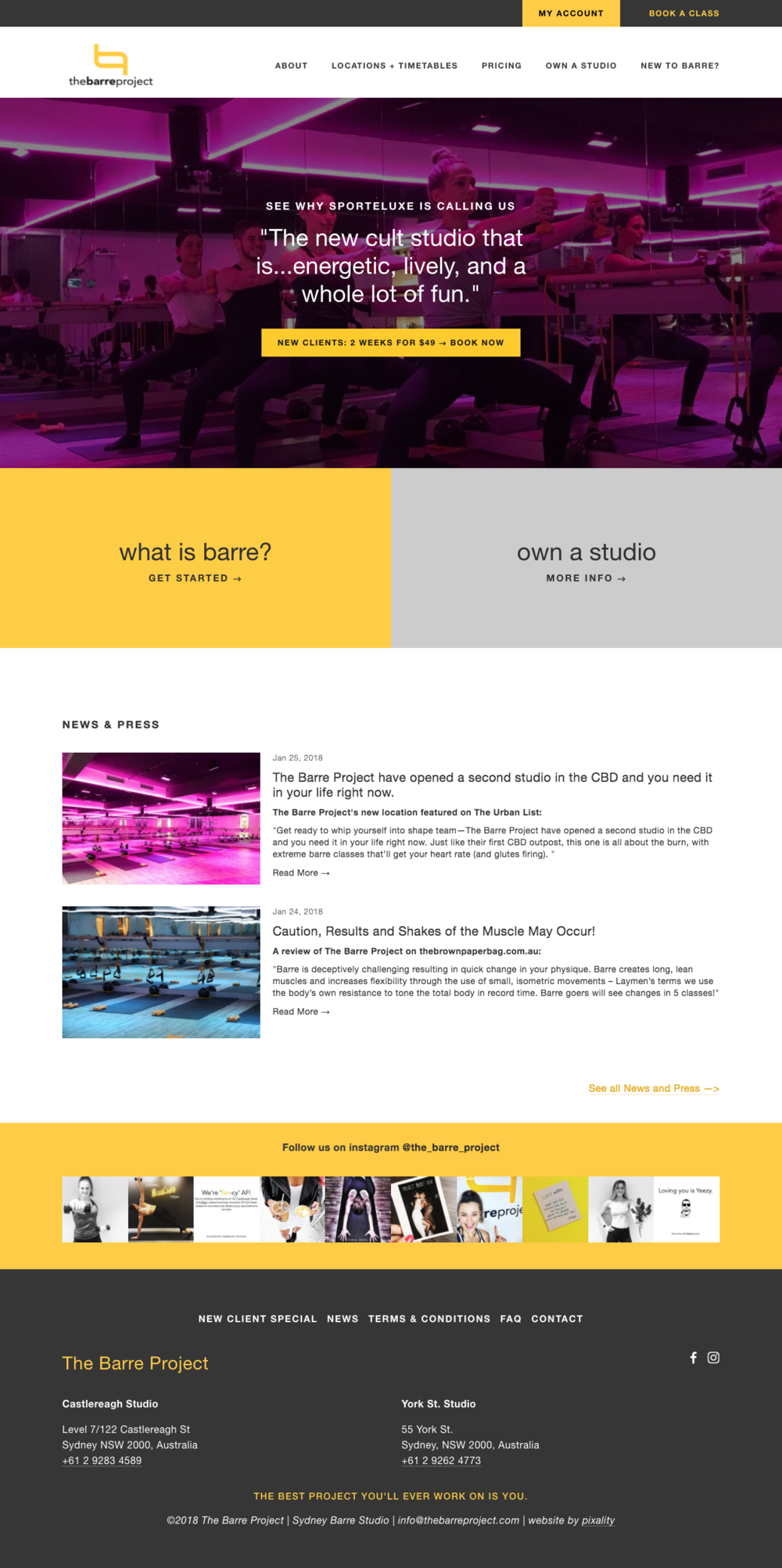 Home Page website design for The Barre Project