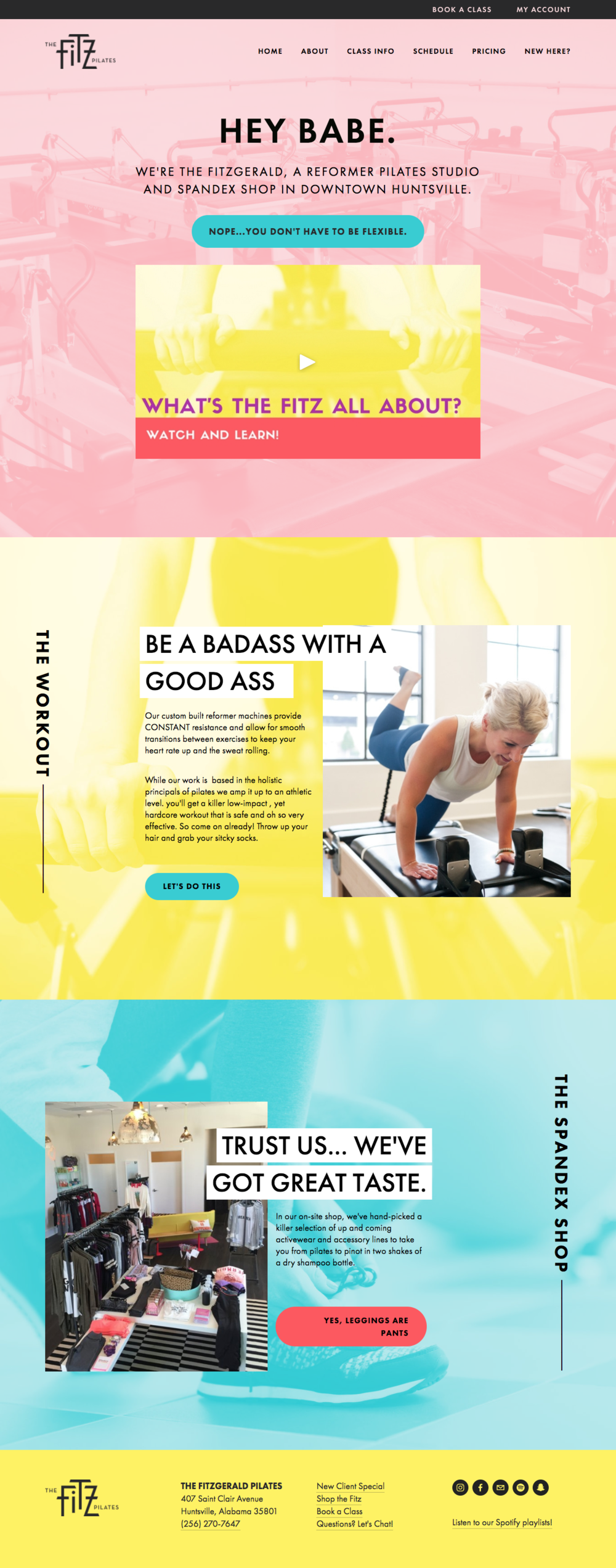 Home Page website design for The Fitz Pilates Studio
