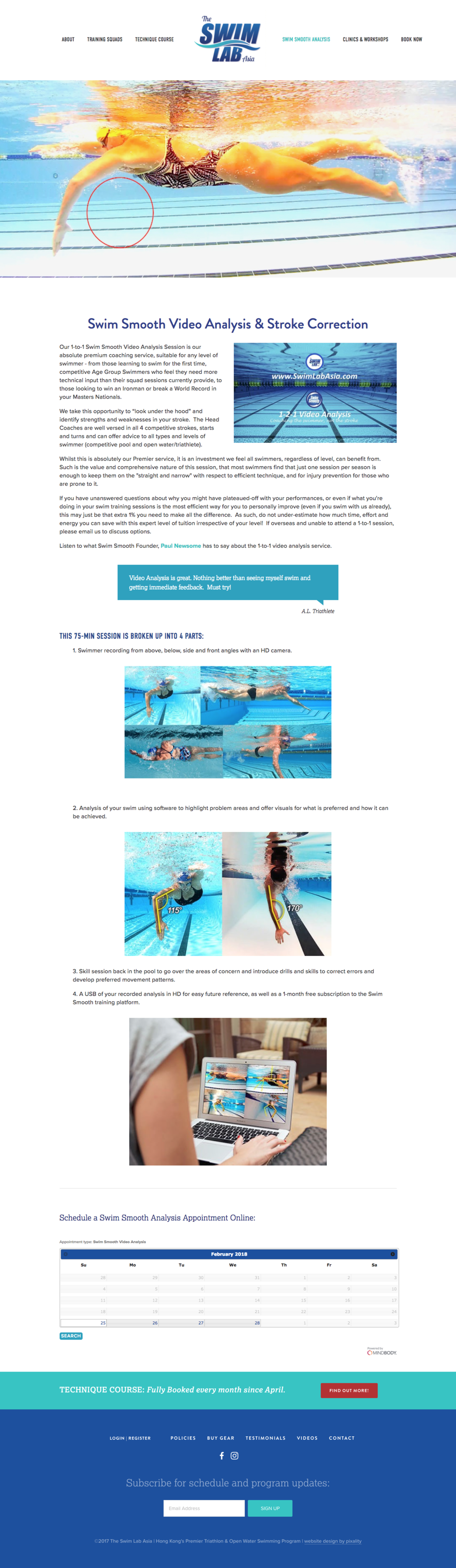 mindbody appointment booking page | the swim lab