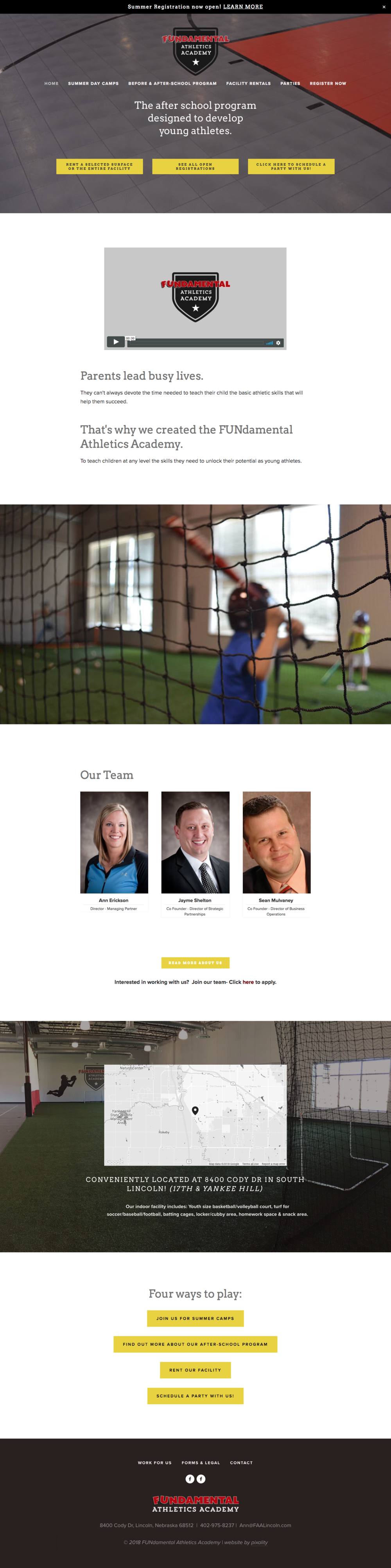 Squarespace web design | Fundamental Athletics Academy | Lincoln, NE