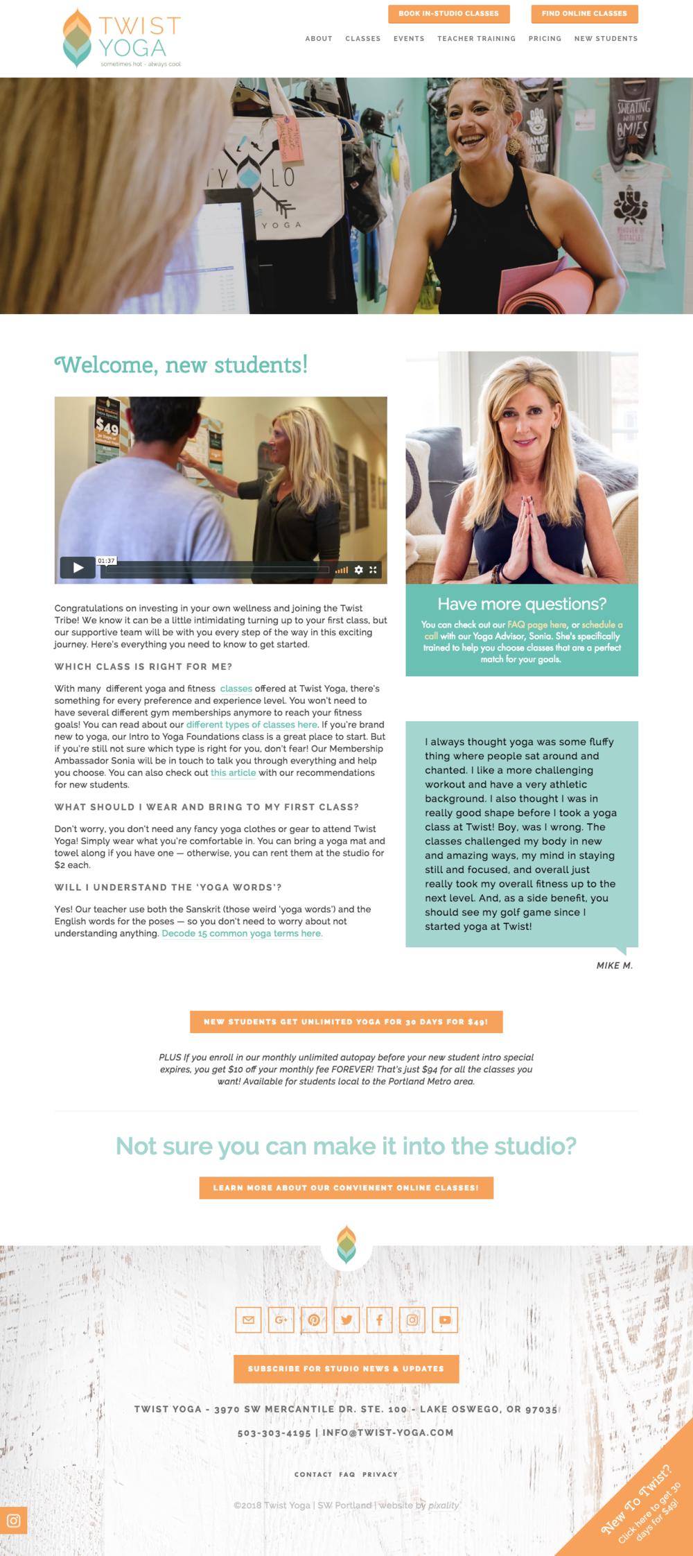 MINDBODY integrated Yoga Studio website