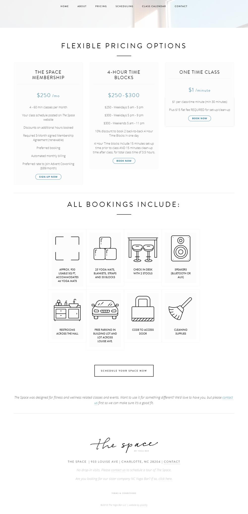 website design for yoga studio