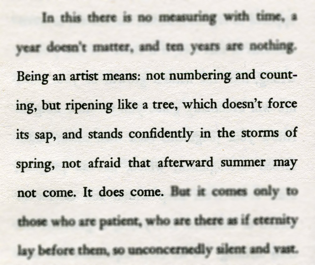Rainer Maria Rilke speaks a lot of truth in Letters to a young poet.