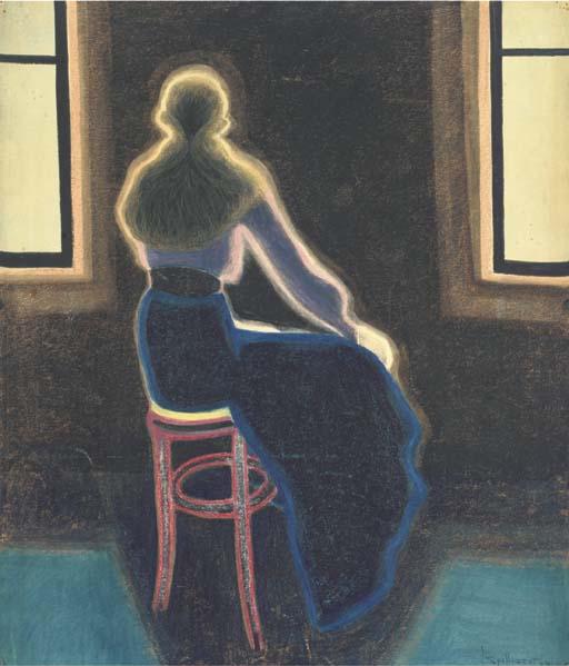 Leon Spilliaert, Jeune femme de dos sur un tabouret, 1909