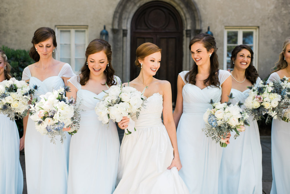 Bridesmaids in airy blue dresses Macon, GA wedding