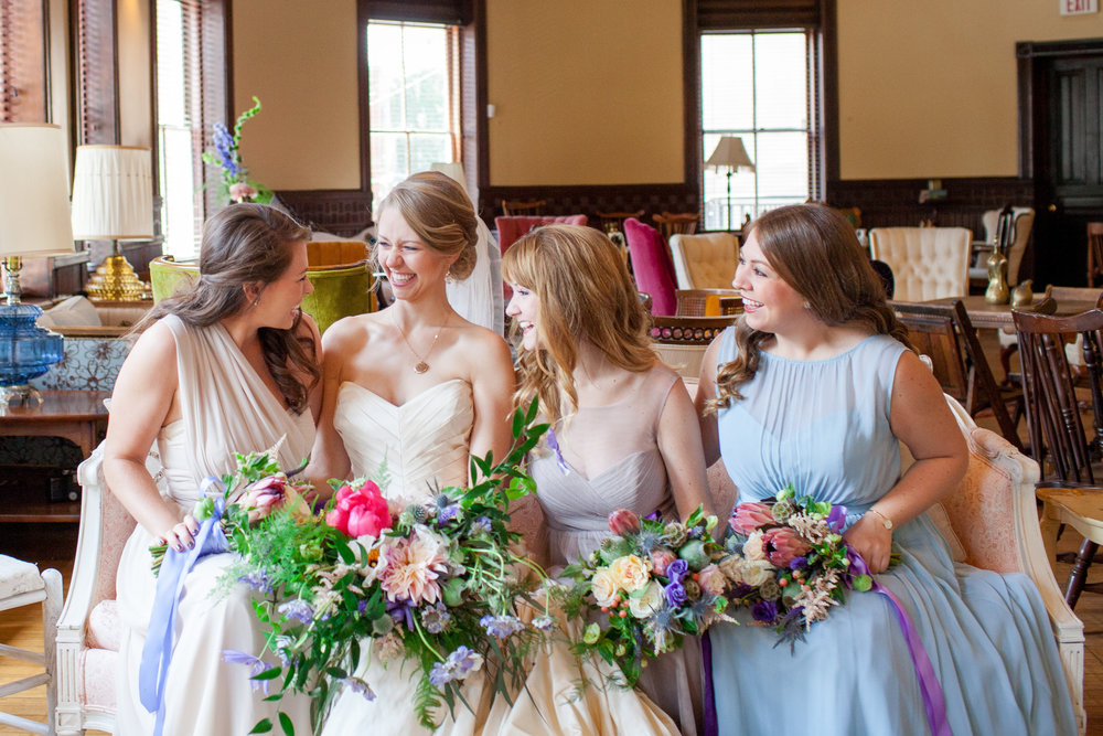 Mix and Match bridesmaids dresses at a vintage-inspired Georgia wedding.