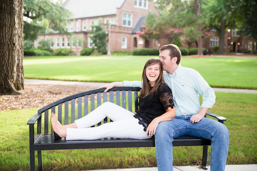 Whitney and Scott's darling engagement photos on the campus of Mercer University in Macon, GA.