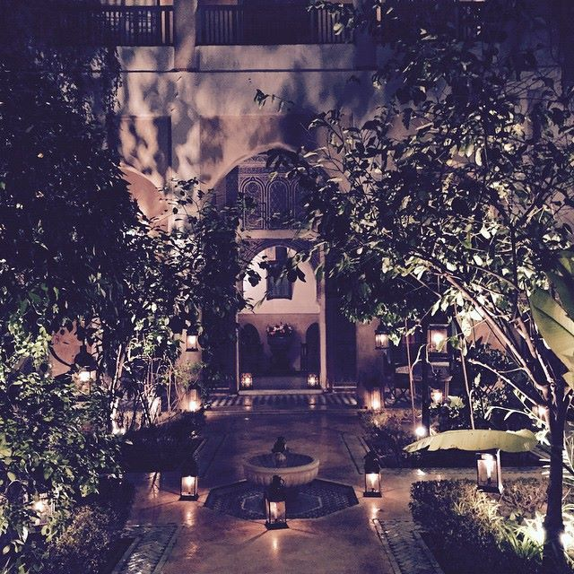 A private riad: evening view into the courtyard
