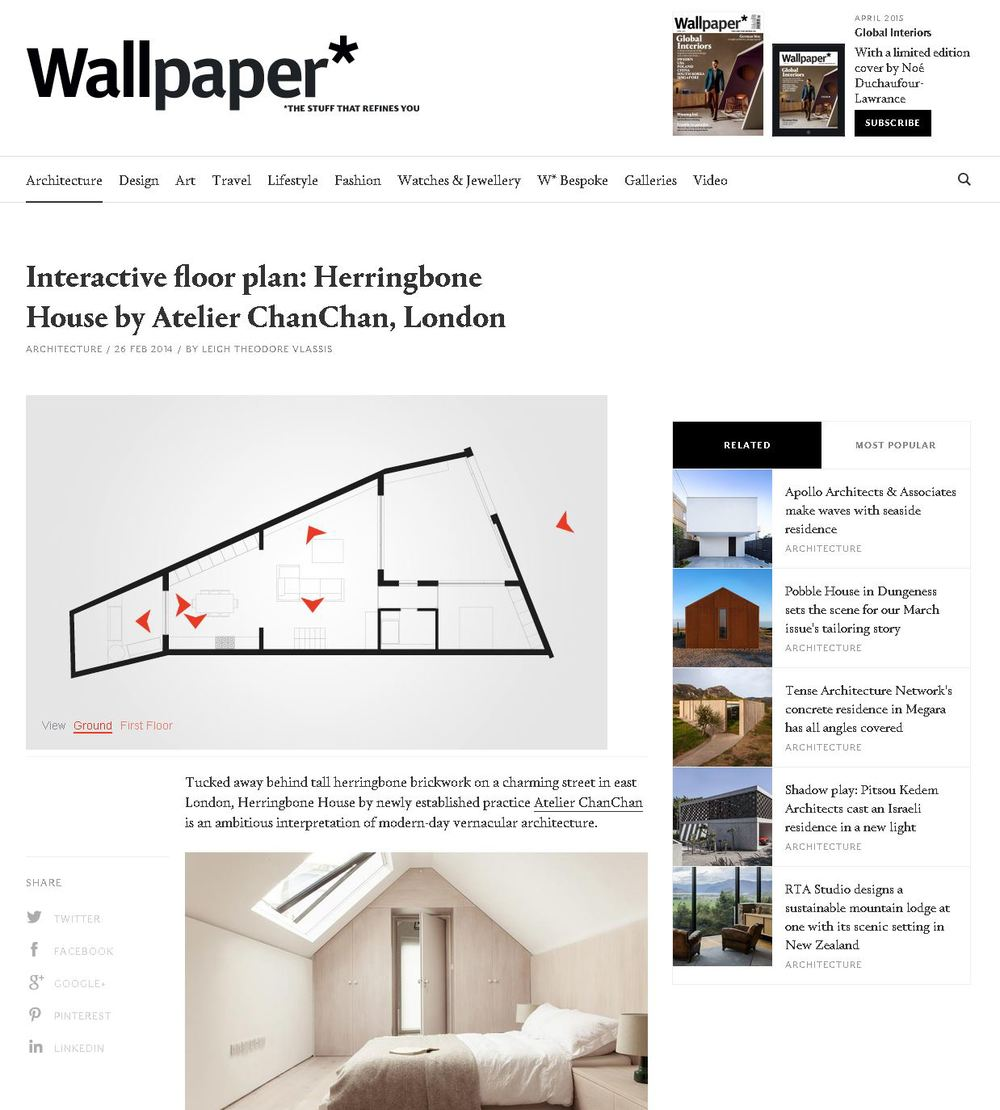Wallpaper Online Herringbone House Article and Interactive Floorplan 26 Feb 2014 By Leigh Theodore Vlassis