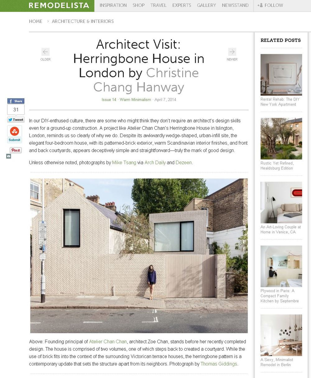 Remodelista Online Architect Visit: Herringbone House in London By Christina Chang Hanway