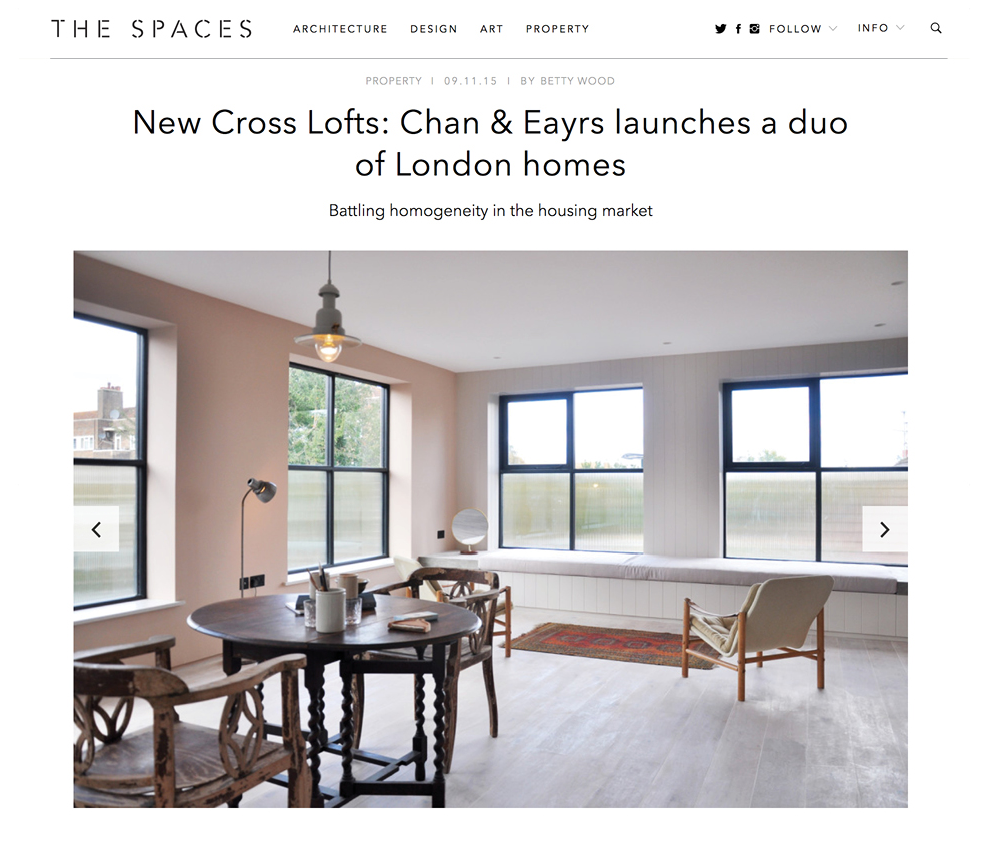 The Spaces New Cross Lofts: Chan + Eayrs launches a duo of London Homes Battling Homogeneity in the Housing Market November 2015