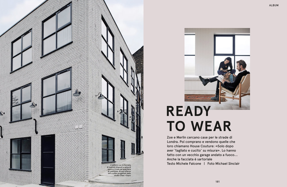 Corriere Della Sera Living - Print Editorial  6 page feature on New Cross Lofts and Chan + Eayrs October 2016