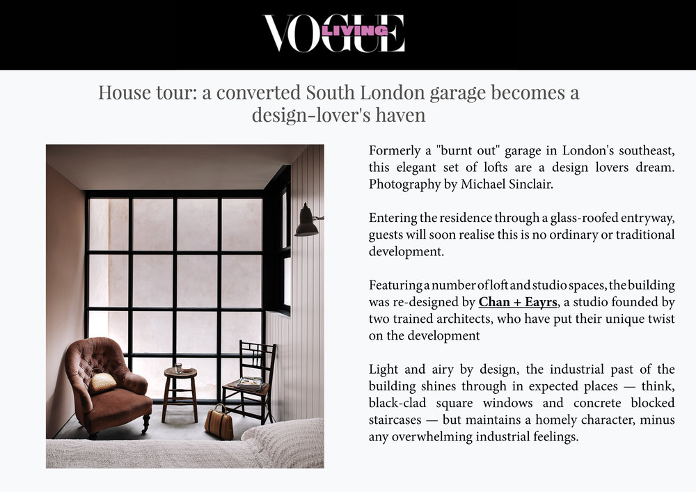 Vogue Living Online - House Story New Cross Lofts August 2017