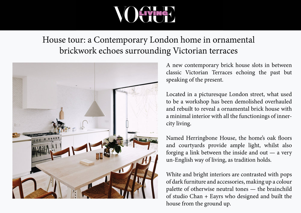 Vogue Living Online - House Story Herringbone House August 2017