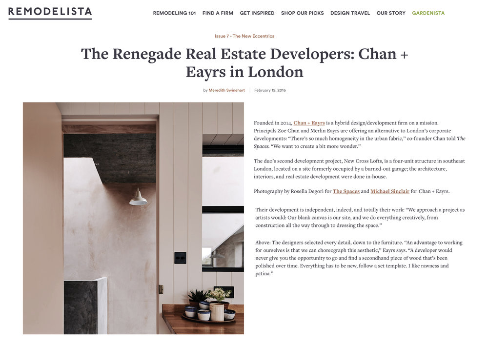 Remodelista Issue 7 New Cross Lofts:The Renegade Real Estate Developers: Chan + Eayrs in London 19 February 2016