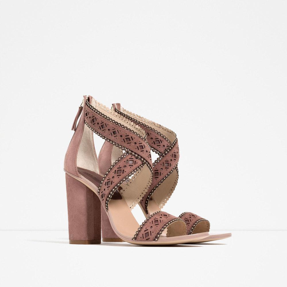 Zara laser-cut leather sandals