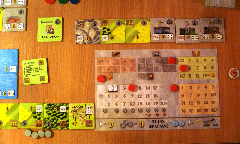 Player board for the Argo player (me) with land tiles to the left of the town