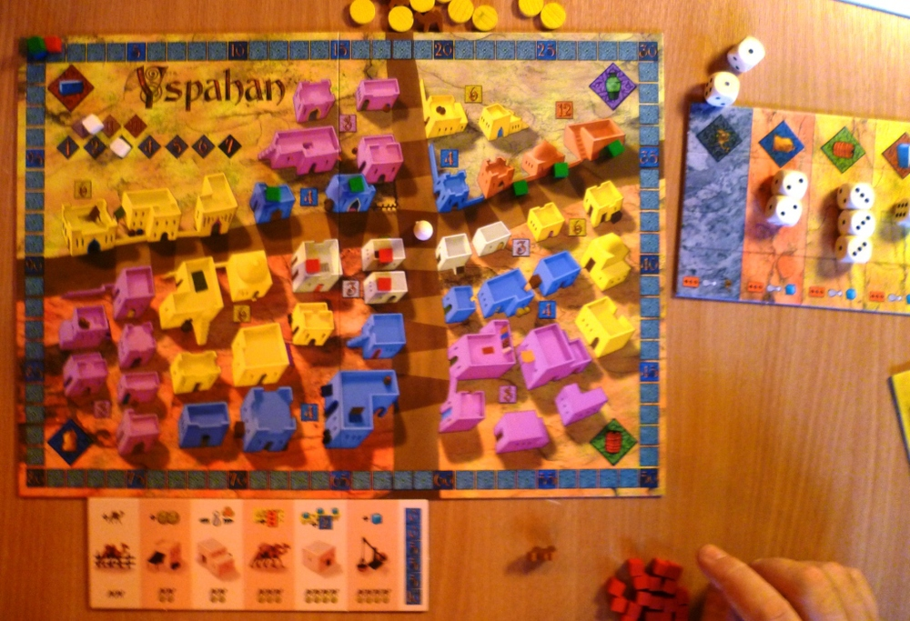 The main board for playing cubes to and a player board very early in the game