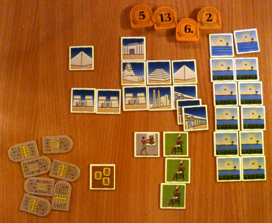 Game end, the Nile scores because it has flooded whilst Monument sets score for multiples as well as different types
