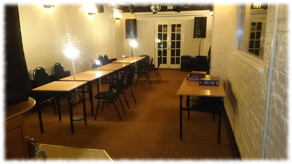 The function room.   It's empty now.  Why?  Because  you're  not there!  Come on down and join us!