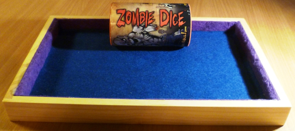 Beresford Quimby's home made dice rolling tray - excellent for Zombie Dice