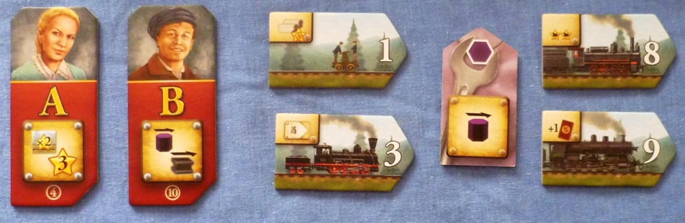 A couple of Engineers with trains flanking an Industry token