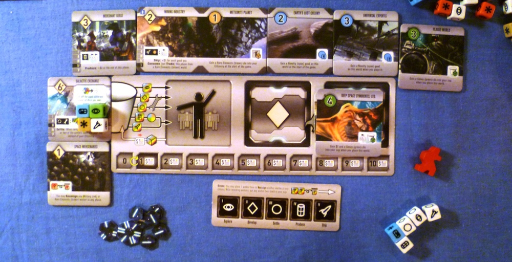 Game end scoring for RED - 20 trade points, 9 points for Worlds and 12 for Developments and 4 bonus points for the 6+ Development.