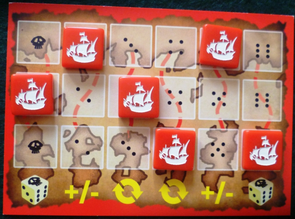 Reds Player Board with ships sailing to the Southern Islands looking for treasure
