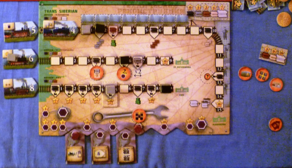 Part way through the game the leaders home board showing a completed bottom rail and a strong Industrial position.