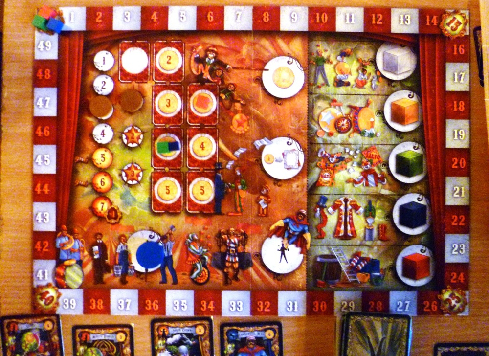 Drum roll board season 1 turn 3, no score yet, showing placement options, blue has gone for a helper (bottom left)