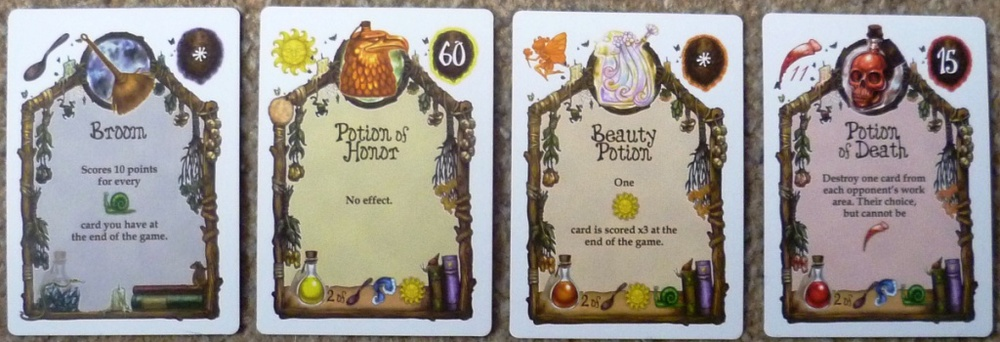 Level 3 cards - most are powerful potions requiring the discarding of 2 ingredients