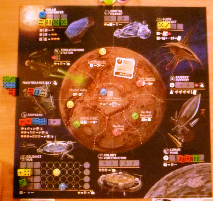 The game board showing previous ship (dice) placements
